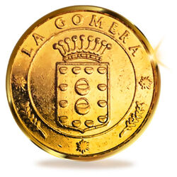 13 Coins Einheit von La Gomera, Kanarische Inseln. 24K Gold
