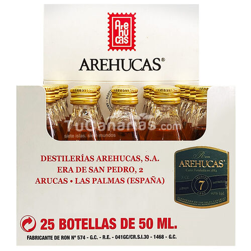 Botellita Miniatura Ron Arehucas 7 Años Personalizacion Gratis
