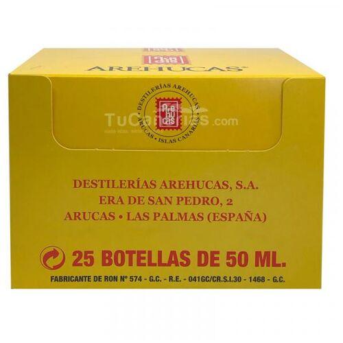 25 mini bottles rum arehucas gold free customized