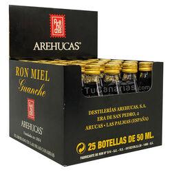 25 Mini botellas Ron Miel Arehucas Guanche Regalo Personalizado