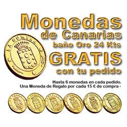 * GRATIS * 24K vergoldete kanarische Munzen. 1 pro 15 Euro Kauf